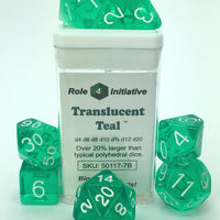 TRANSLUCENT TEAL W/WHITE POLY 7 DICE SET
