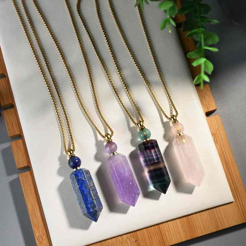 Elisa Natural Stone Perfume Bottle Necklace Rose Quartz