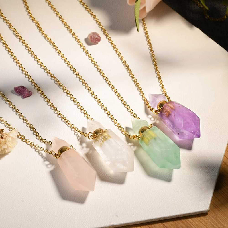 Lucas Gold Essential Oil Bottles Necklace Rose Quartz