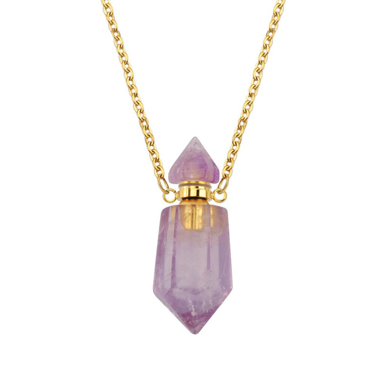 Lucas Gold Essential Oil Bottles Necklace Amethyst