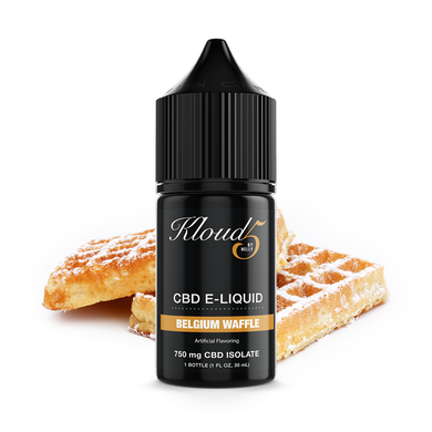 KLOUD5 CBD By Nelly Belgium Waffle CBD Vape Juice, CBD E-Juice, CBD Vape Liquids 30mL bottle, 750 mg CBD isolate per bottle,