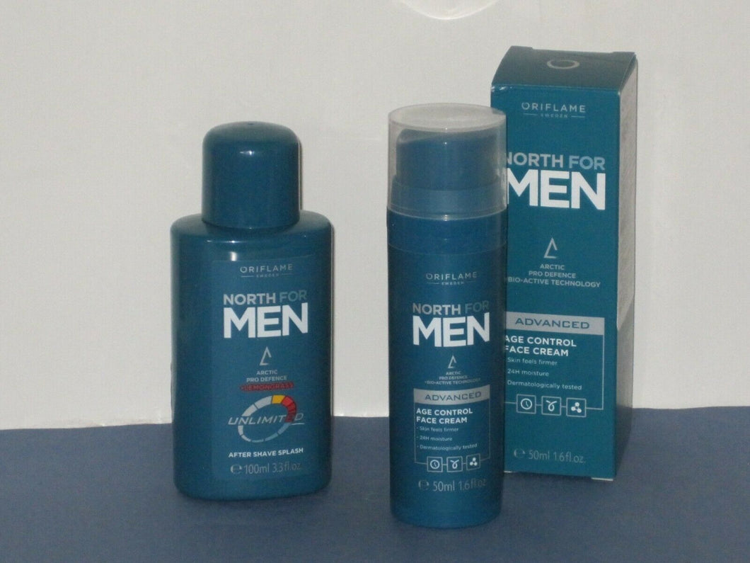 ORIFLAME SWEDEN NORTH FOR MEN SET X 2 ( AFTER SHAVE + AGE CONTROL CREAM) NEW