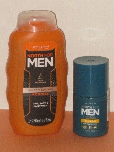 ORIFLAME SWEDEN NORTH FOR MEN SET X 2 (HAIR BODY WASH 200+ DEO ROLL-ON 50g) NEW!
