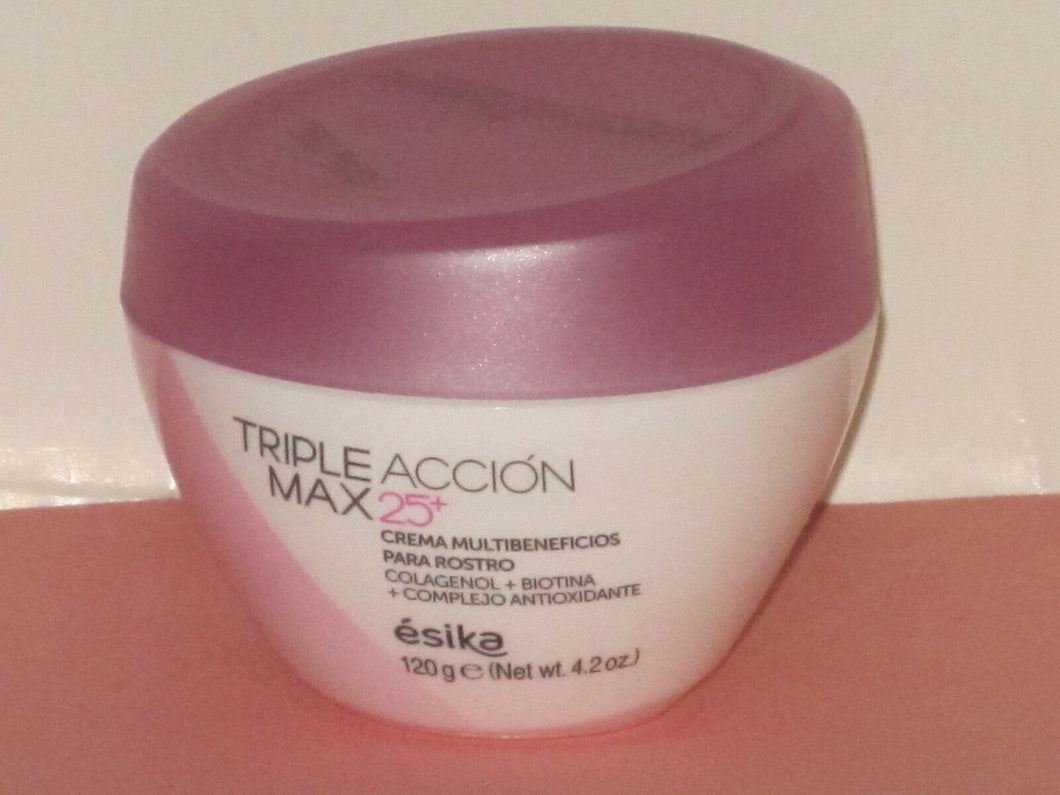 ESIKA TRIPLE ACCION MAX 25+ FACIAL MULTI-BENEFITS CREAM 120 g./ 4.2 oz.  NEW!