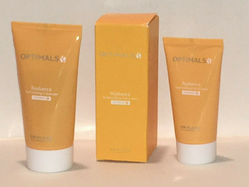 ORIFLAME SWEDEN OPTIMALS RADIANCE SET X 2 (CLEANSER 50 ml.+ GEL CREAM 30ml.) NEW