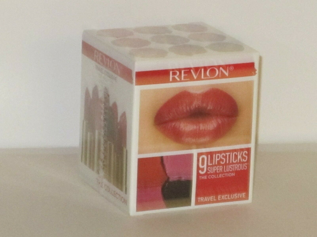 REVLON SET X 9 FULL SIZES SUPER LUSTROUS LIPSTICKS(ASSORTED COLORS) 4.2 g ea NEW