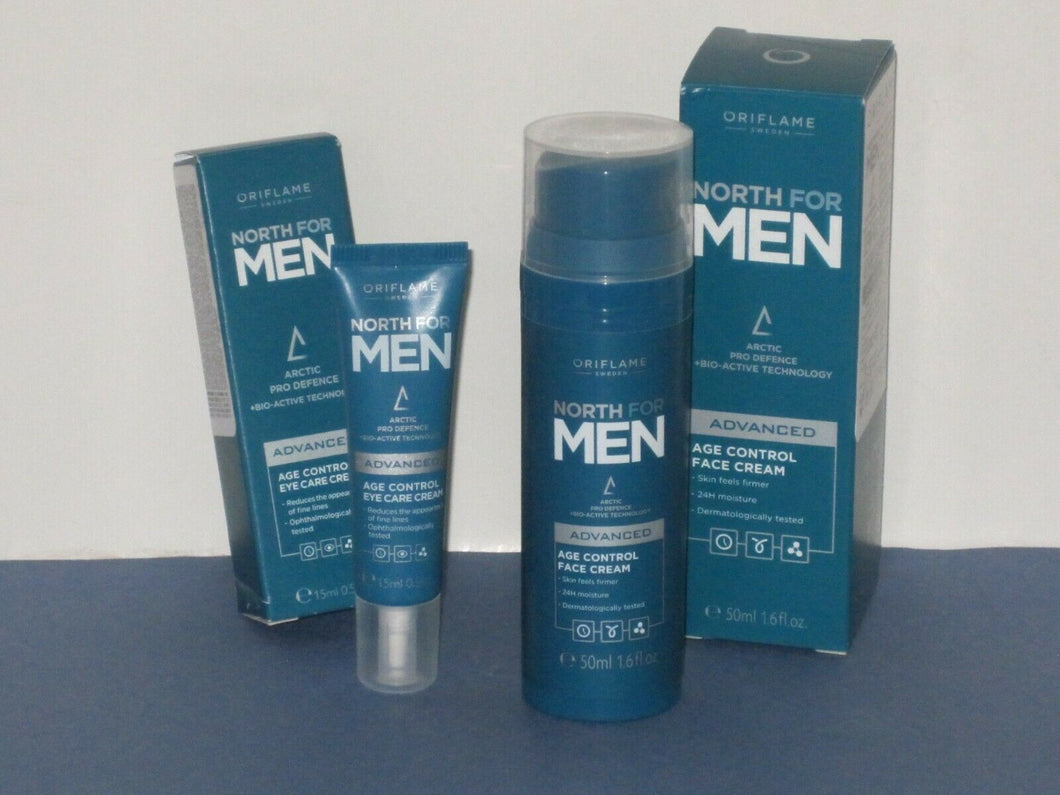 ORIFLAME SWEDEN NORTH FOR MEN SET X 2 ( AGE CONTROL EYE + AGE CONTROL FACE) NEW