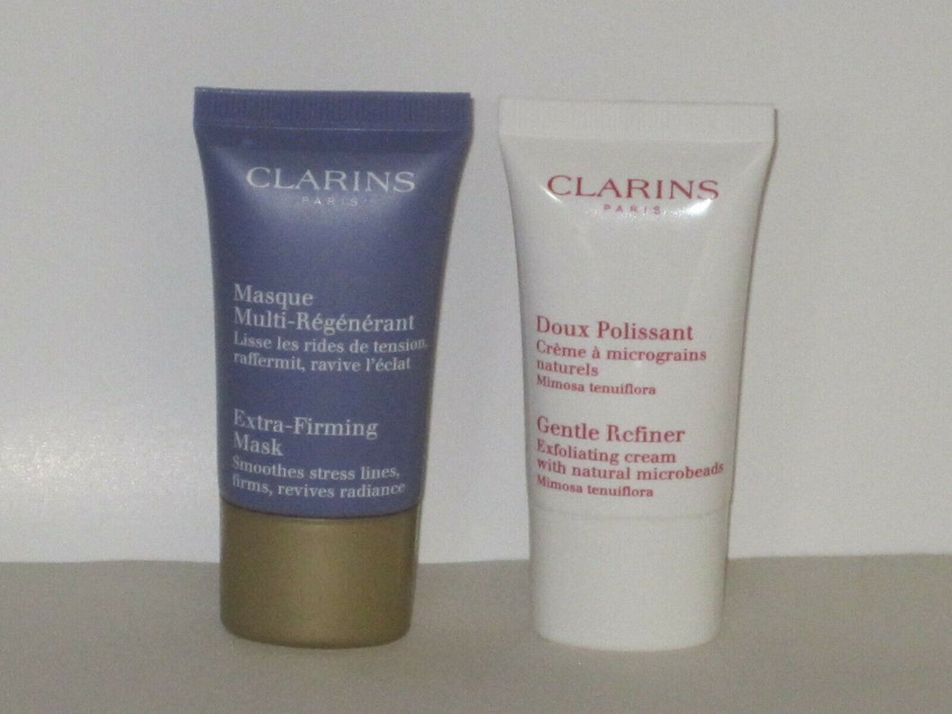 CLARINS SET X 2 MINIS ( EXTRA-FIRMING MASK 15 ml+ GENTLE REFINER EXF 15 ml) NEW!