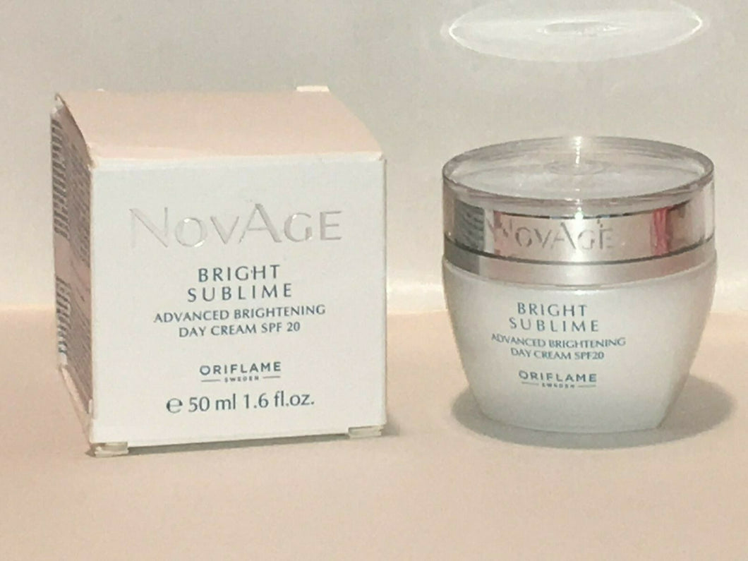 ORIFLAME SWEDEN NOVAGE BRIGHT SUBLIME BRIGHTENING DAY CREAM SPF 20- 50 ml.NEW