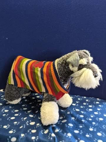 Dog Jumper - Multicolored Strip with pola neck and bone design, 17 inches