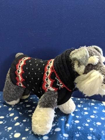 Dog Jumper - Knitted black/white/red with Polo neck, 17 inches