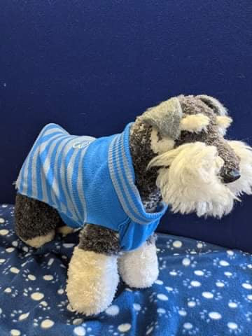 Dog Jumper - Royal blue with Grey Stripes and Bone Design, 17 Inches