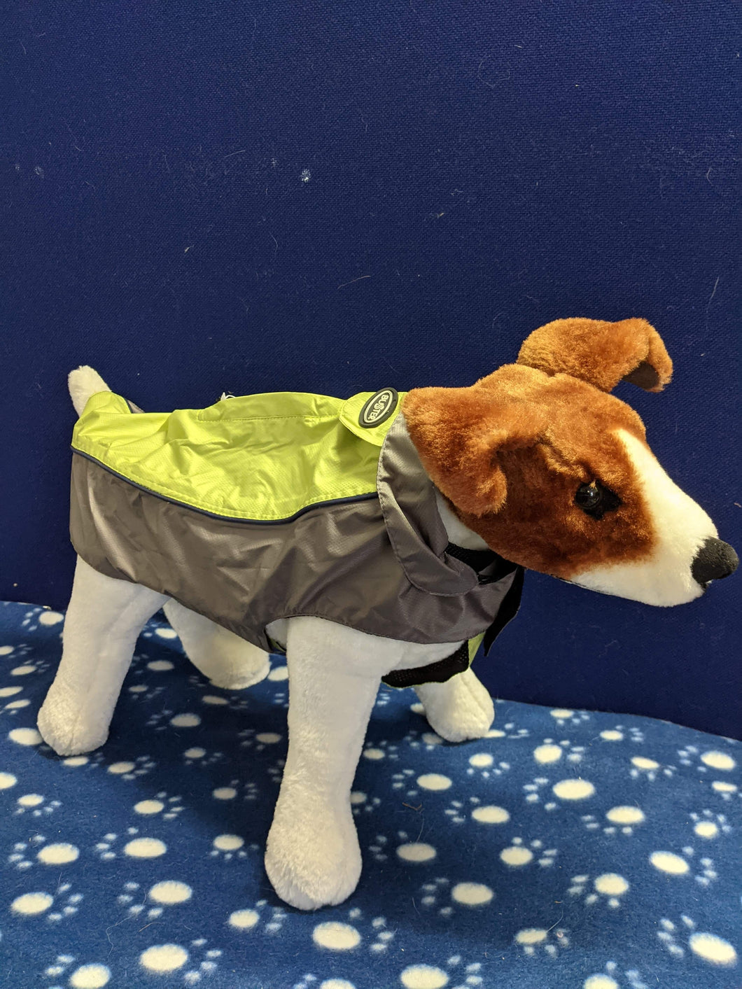 Dog Coat - Buster Outdoor Raincoat Rock, Grey & Green, Medium, 39cm