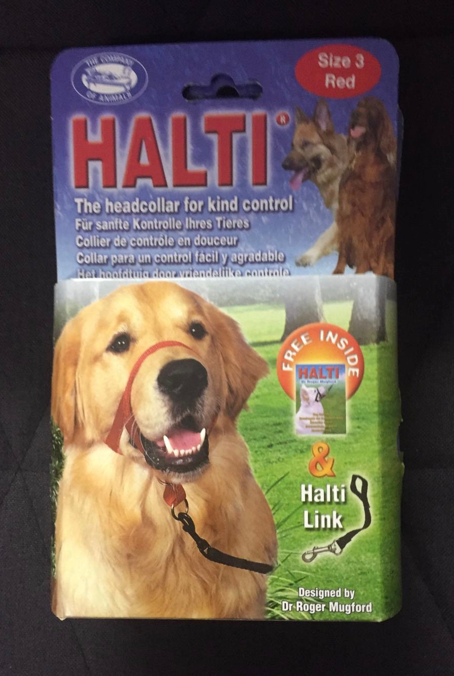 Dog Halti Headcollar, size 3 in red