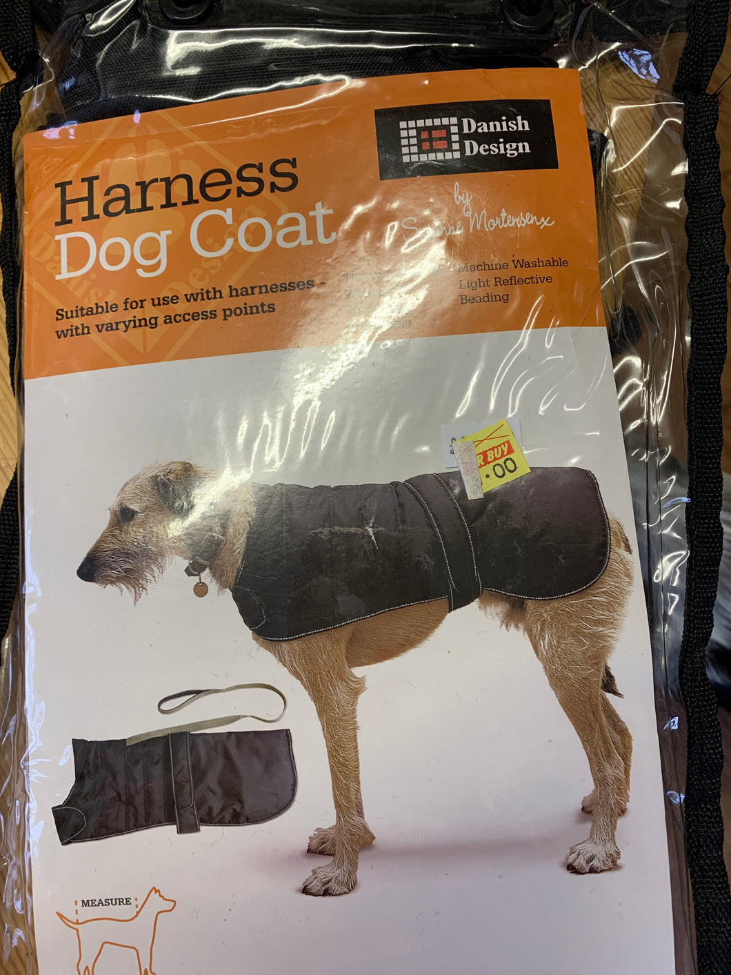 Dog Coat - Black, Suitable for use with Harnesses with varying access points, 30cm & 35cm