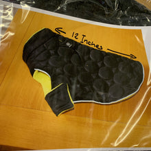 Load image into Gallery viewer, Dog Coat - Black Padded Coat woth yellow fleece lining by Silver Paw