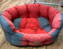 Load image into Gallery viewer, Dog Bed - Forty winks oval padded bed in red/Grey - Small - COLLECTION ONLY