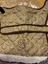 Load image into Gallery viewer, Dog Coat - Gold quilted dog coat with fleece Lining, Approx 15 inches
