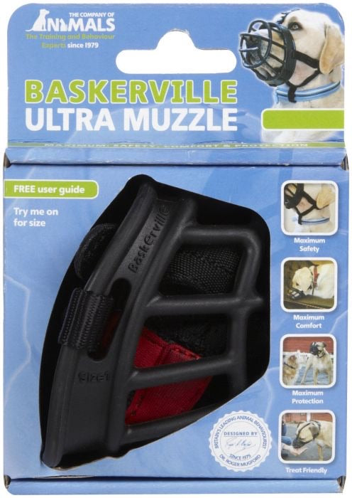 Dog Muzzle - Baskerville Ultra Black Dog Muzzle - Size 4 and Size 6