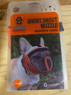 Dog Muzzle - Short Snout Muzzle in Orange, Size L/G 15 to 25 inches