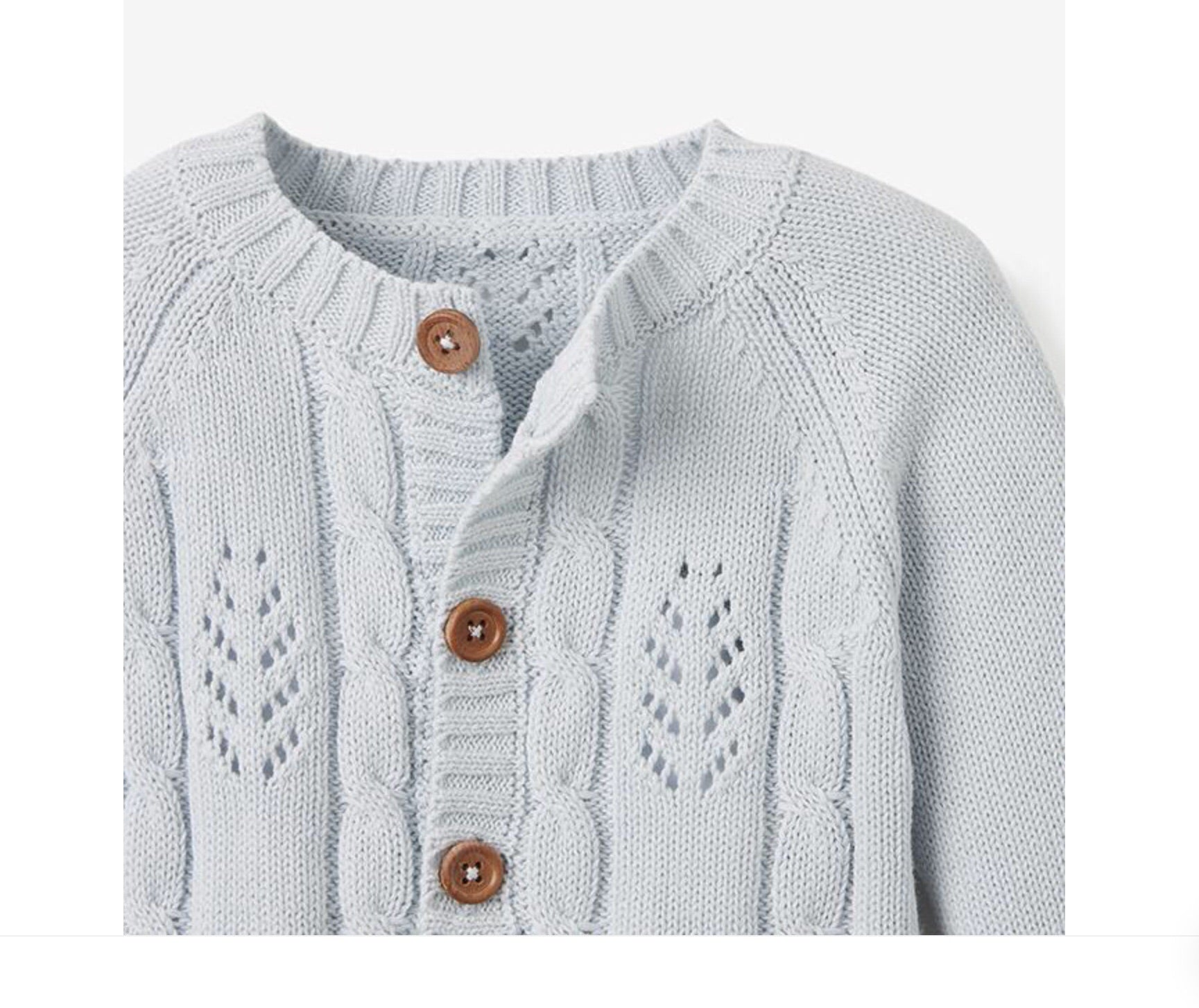 Elegant Baby | PALE BLUE | LEAF CABLE KNIT BABY CARDIGAN