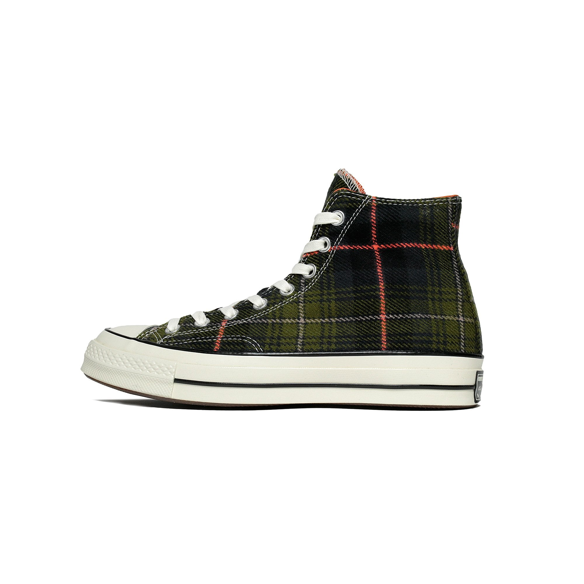 a2ca8b302ecc Details about Converse Chuck Taylor All Star 70 High Top Elevated Plaid  Olive Orange 162404C