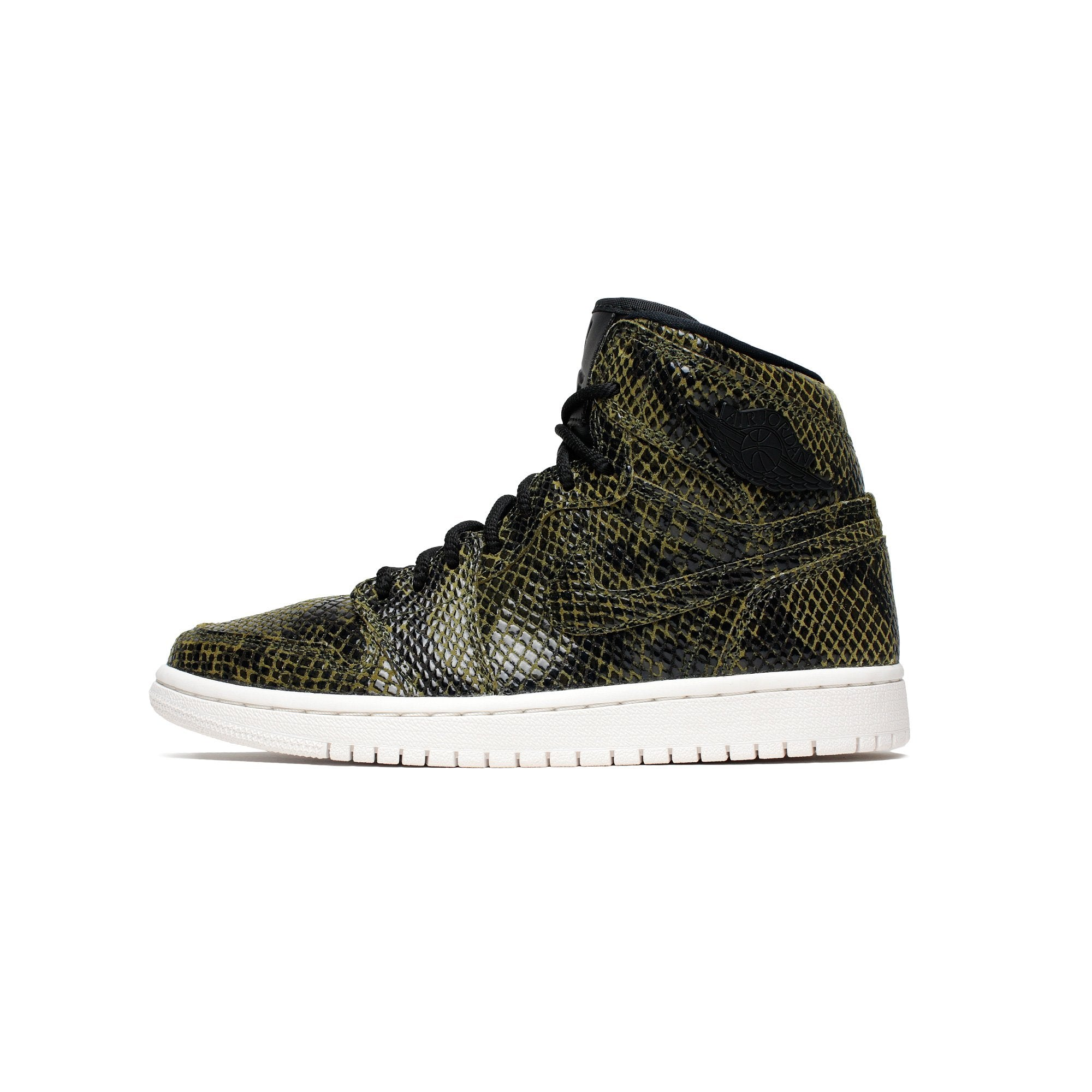 sports shoes 8ca50 f768b Details about Womens Air Jordan 1 Retro High Premium Snakeskin Olive Canvas  Black AH7389-302