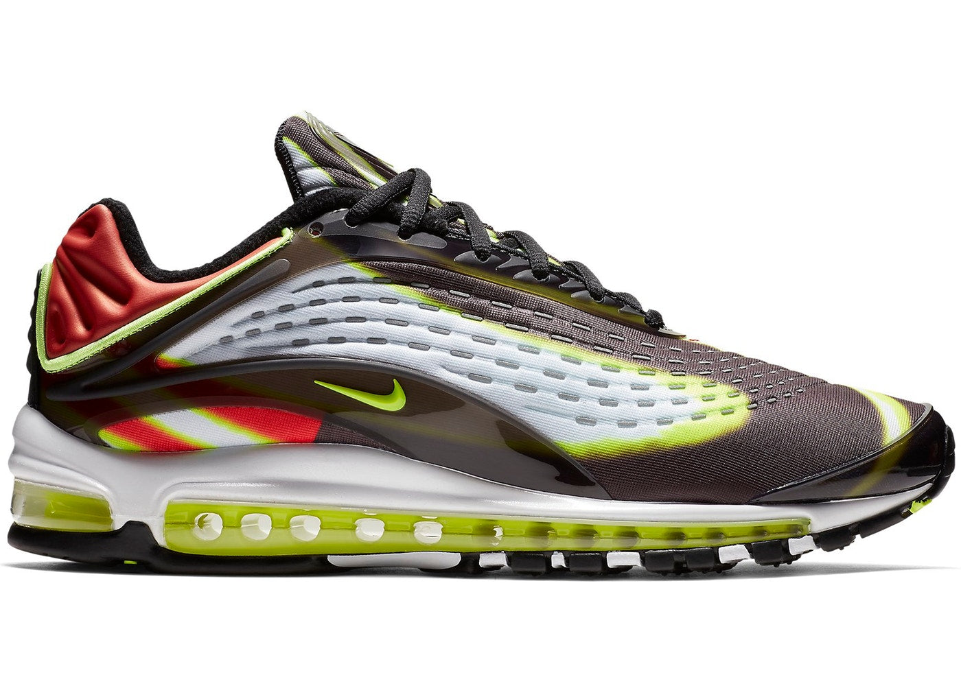 536670a27d Details about Mens Nike Air Max Deluxe Volt Habanero Red Black White  AJ7831-003