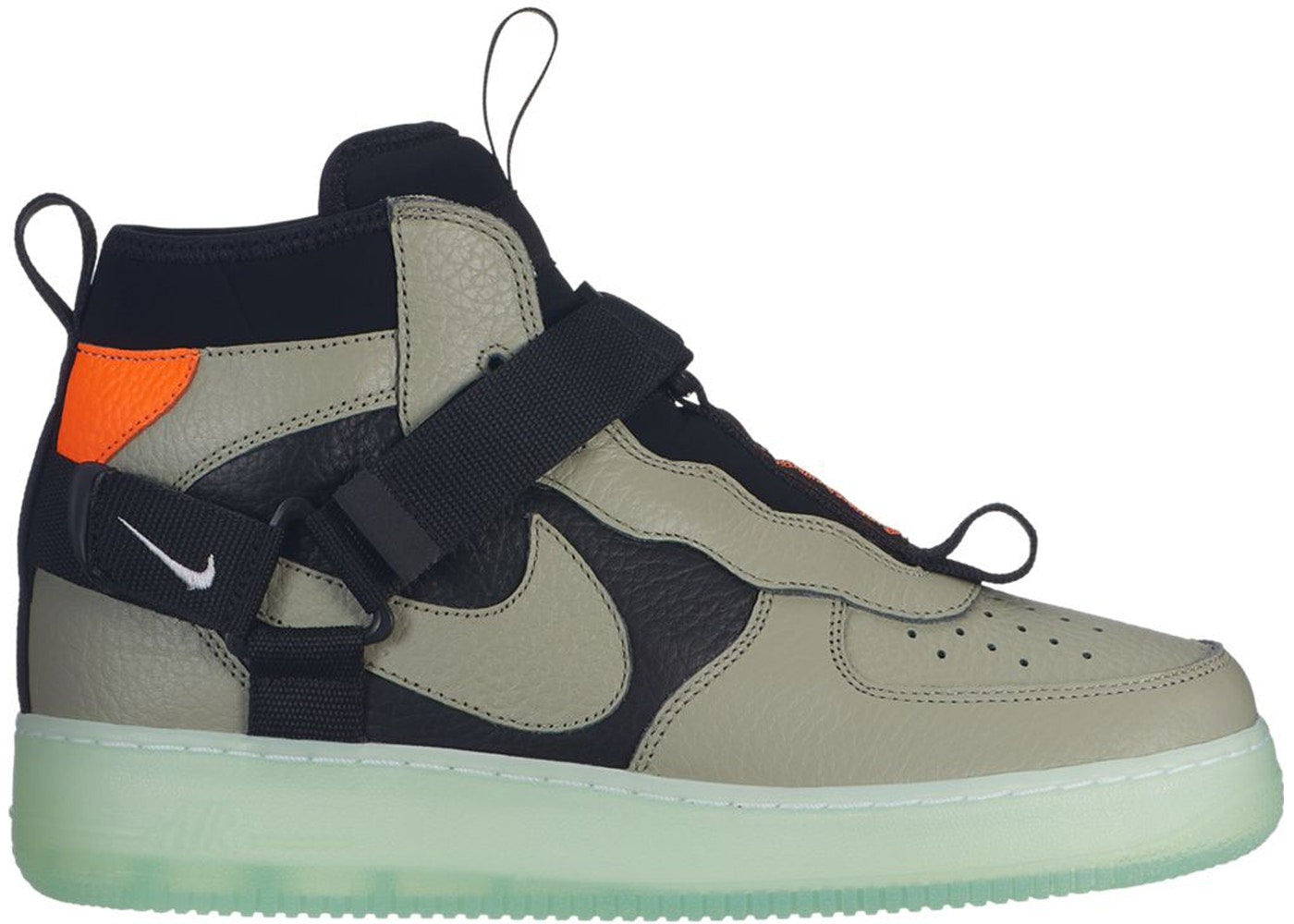 huge selection of 6d3a3 8df16 Details about Nike Air Force 1 Mid Utility Spruce Fog Frosted Spruce Total  Orange AQ9758-300