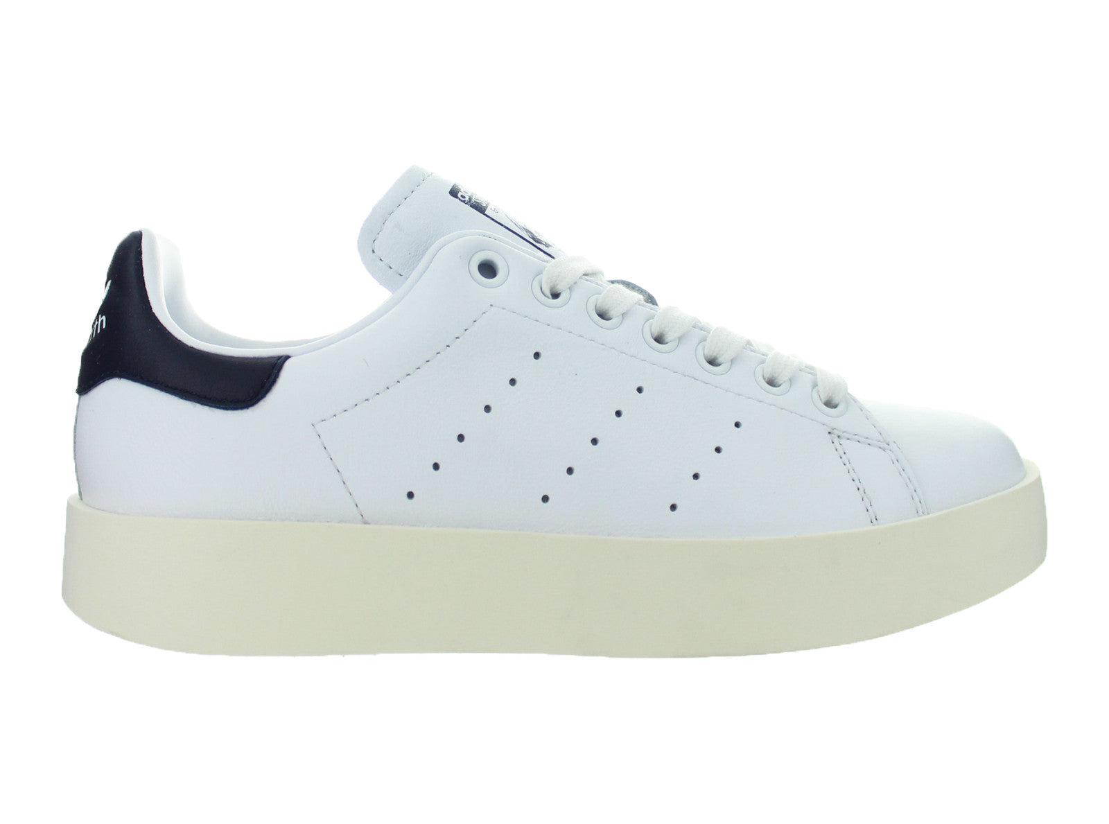 factory price 9a273 1d9dd Details about Womens Adidas Stan Smith Bold White Collegiate Navy BA7770