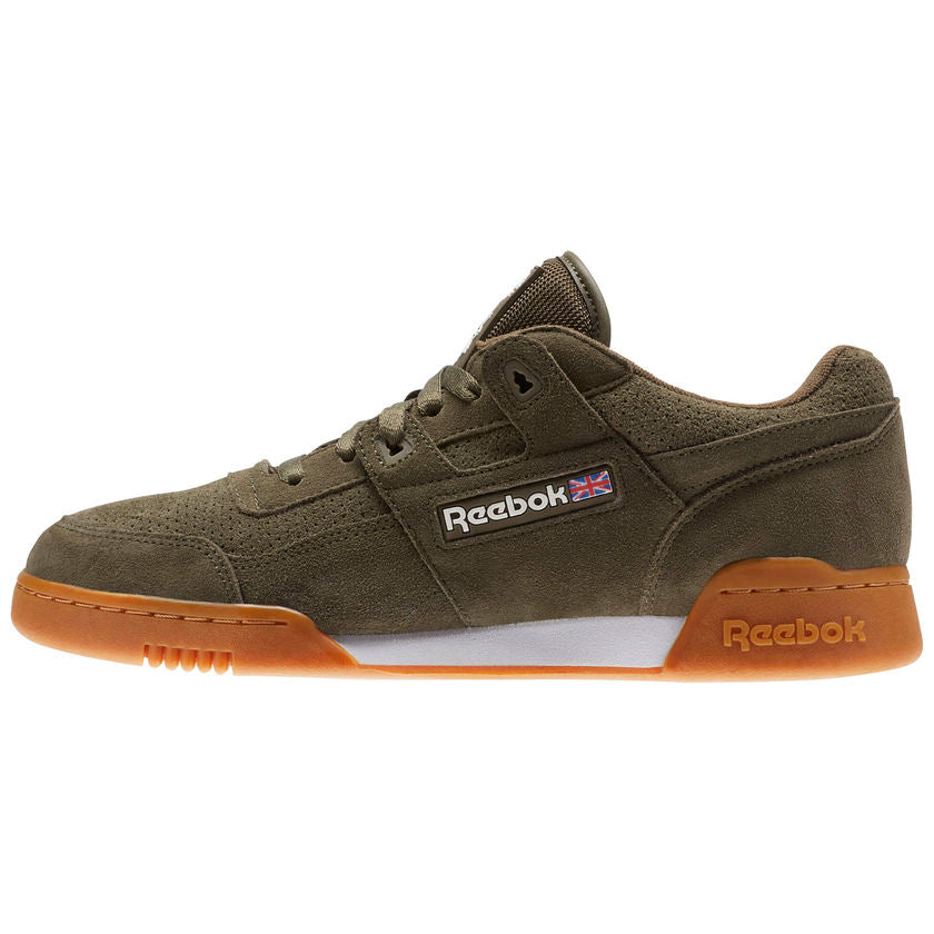 Details about Mens Reebok Workout Plus EG Army Olive Green White Gum Brown CN1053