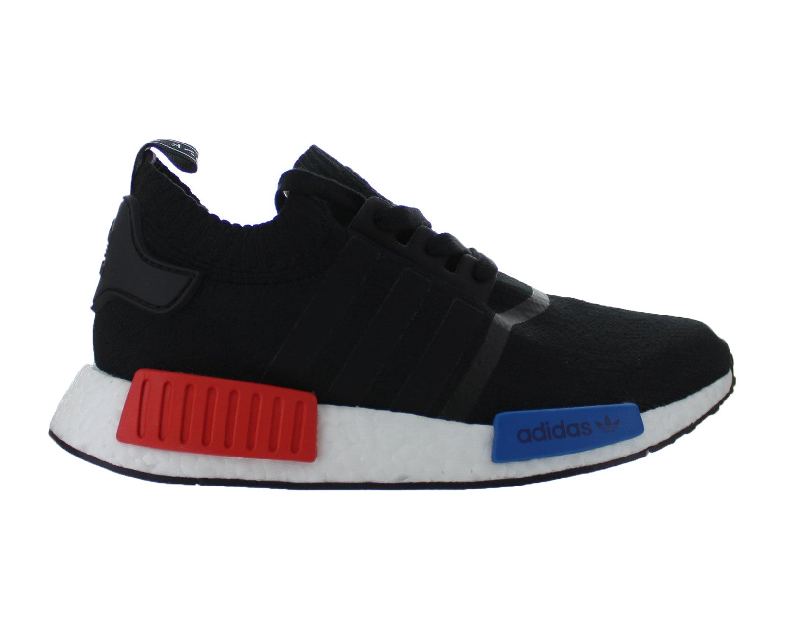 0d25152b4 Mens Adidas NMD R1 Primeknit OG Core Black Lush Red Blue S79168