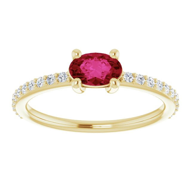 Natural Ruby Ring with Diamonds