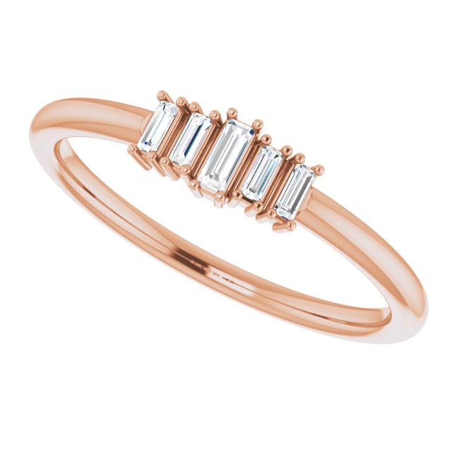 Rose gold baguette stacking ring