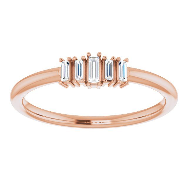 baguette diamonds rose gold ring