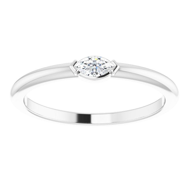 White gold marquise stacking ring