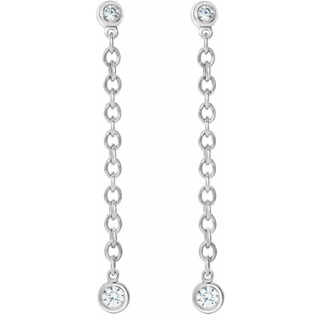 White Bezel Chain Earrings