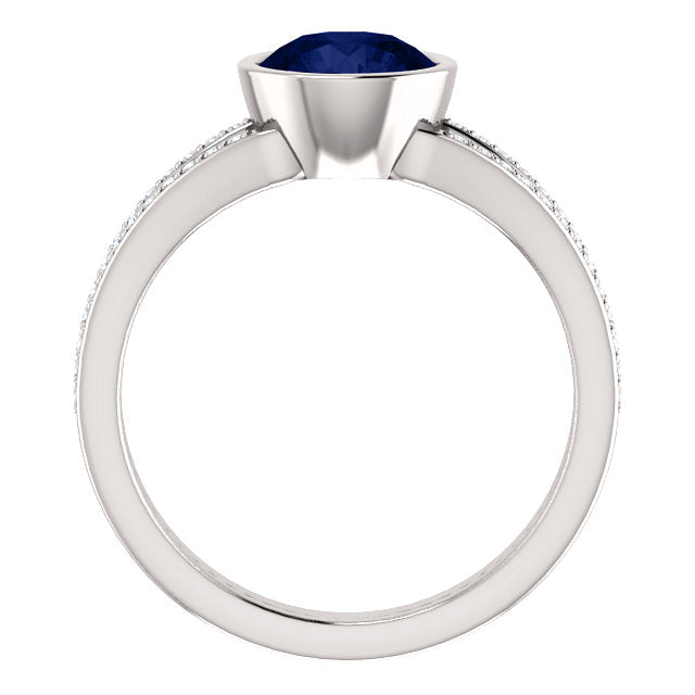 Blue Sapphire Ring with Diamond Accents