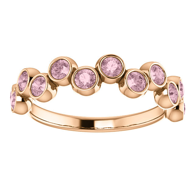 Rose gold pink sapphires ring