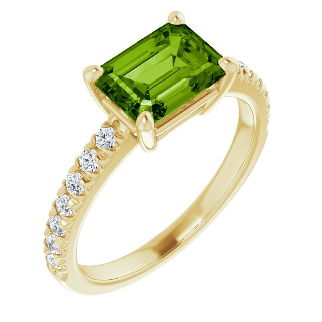 Natural Green Topaz Yellow Ring