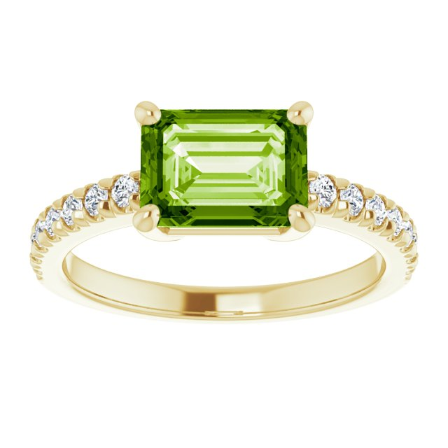 Green Topaz with diamonds on Yellow Gold