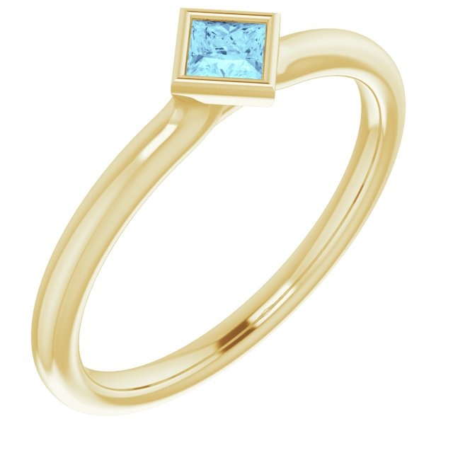 Yellow gold bezel set aquamarine stacking ring