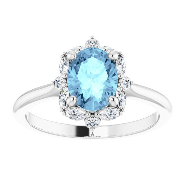 Genuine Aquamarine with diamonds ring