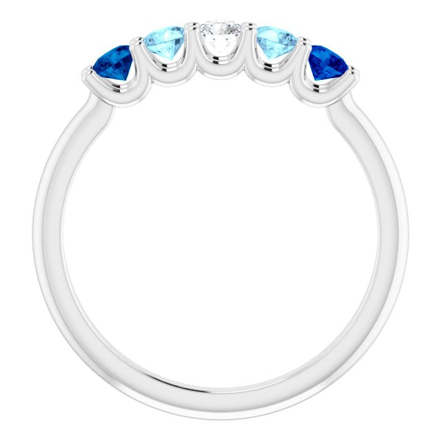 Blue gemstone ring set in white gold