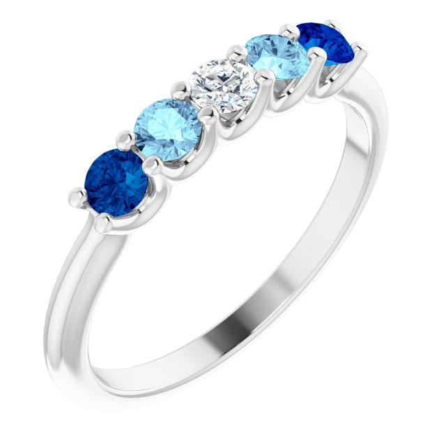 Gemstone sapphire ring in white gold