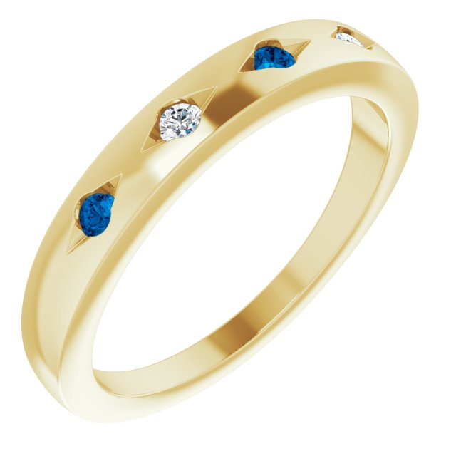 Yellow gold sapphire and diamonds gypsy set ring
