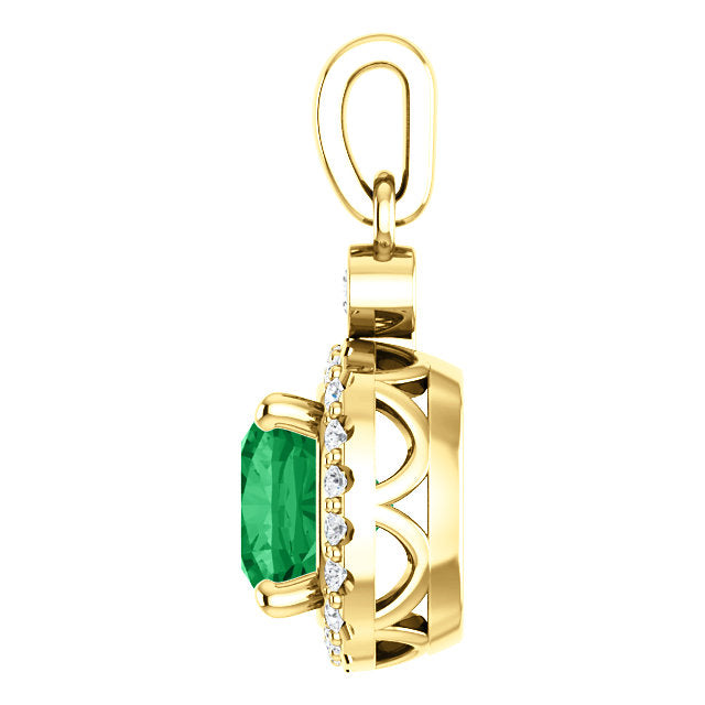 Yellow Pendant with Emerald and Diamonds
