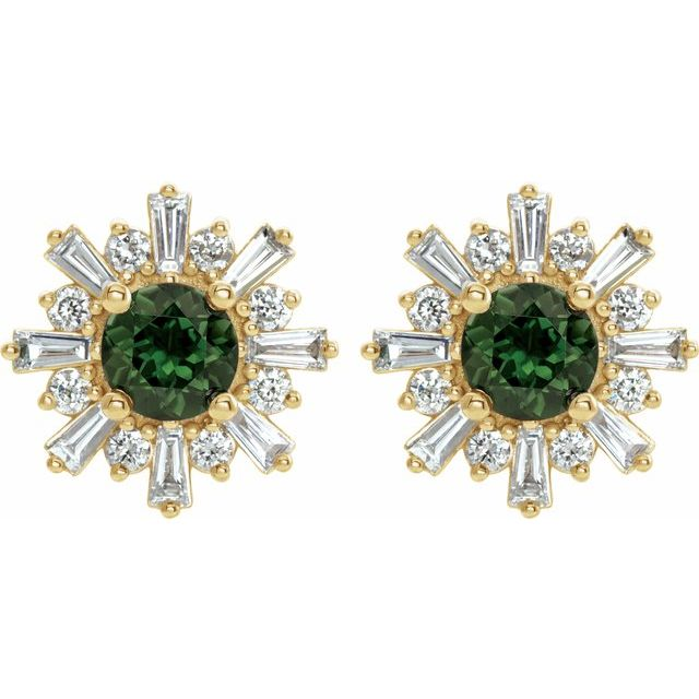 Snowflake earrings with tourmaline