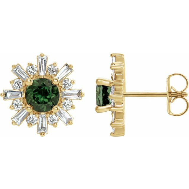Yellow snowflake earrings with green tourmaline