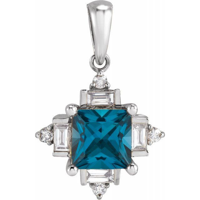 London Blue Topaz pendant with diamonds